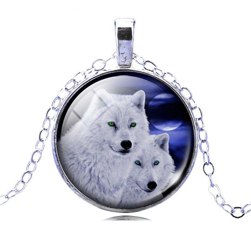 Colgante plateado con cristal lobo